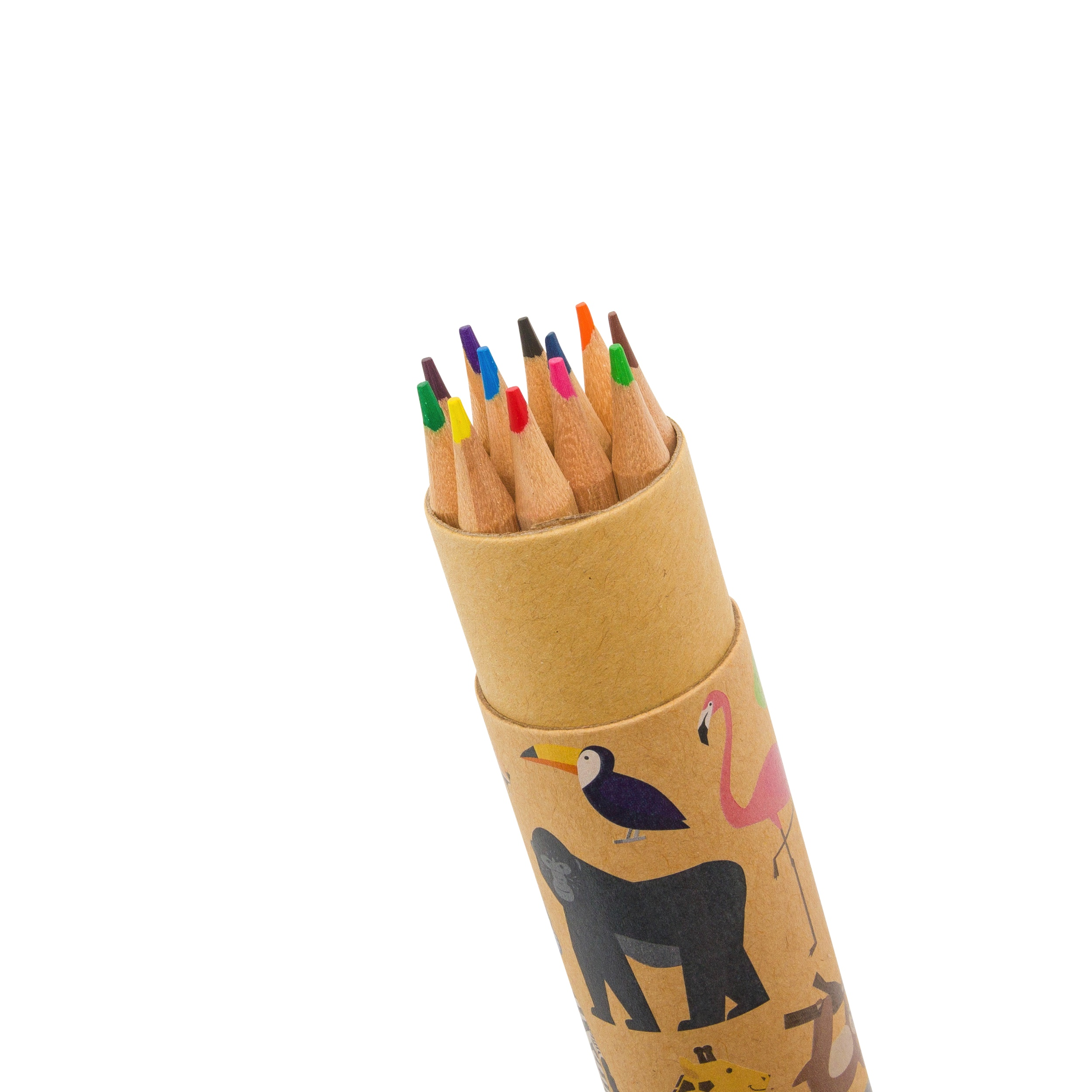 Zoo Animals Colouring Pencils in Pot