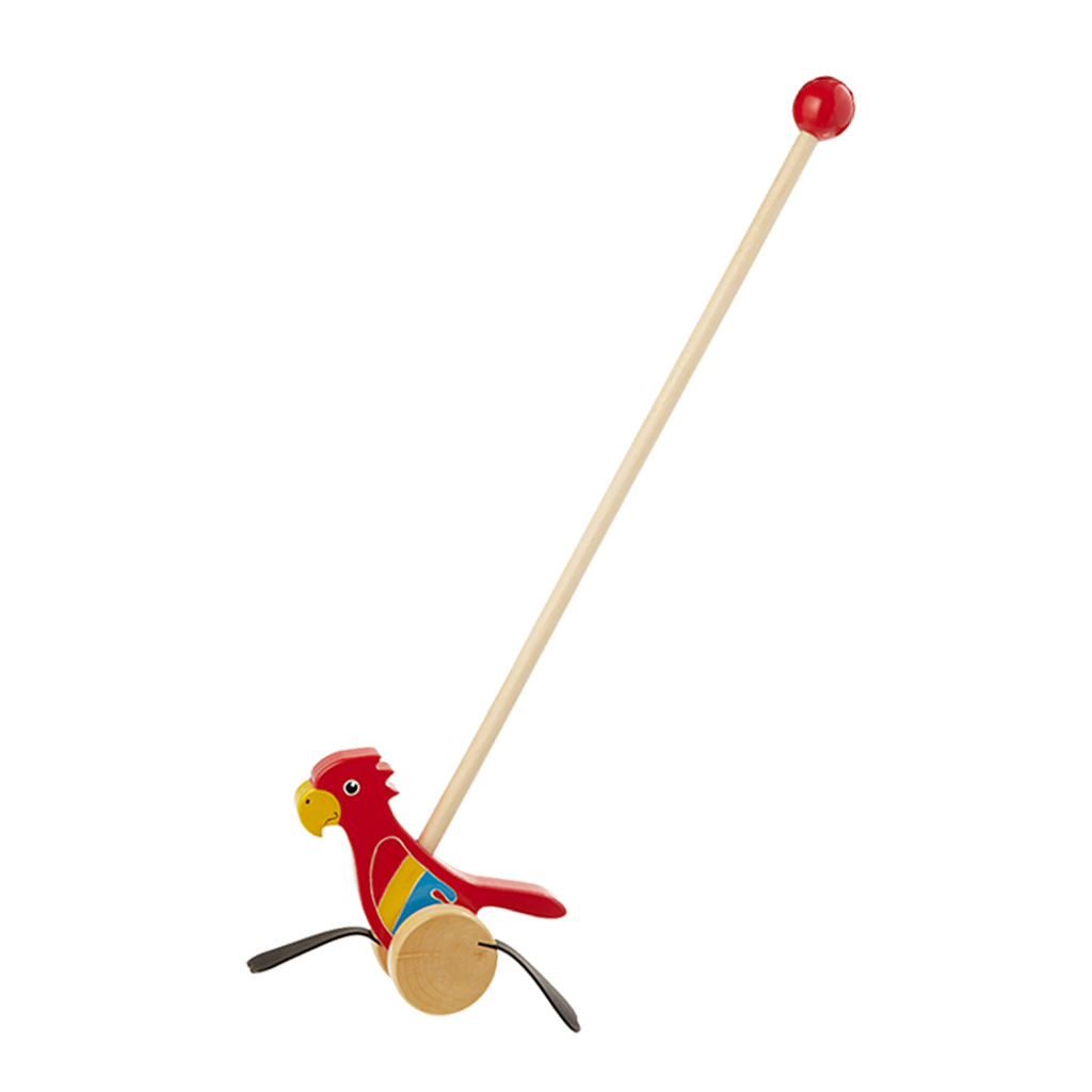 Red Macaw Wooden Push Along
