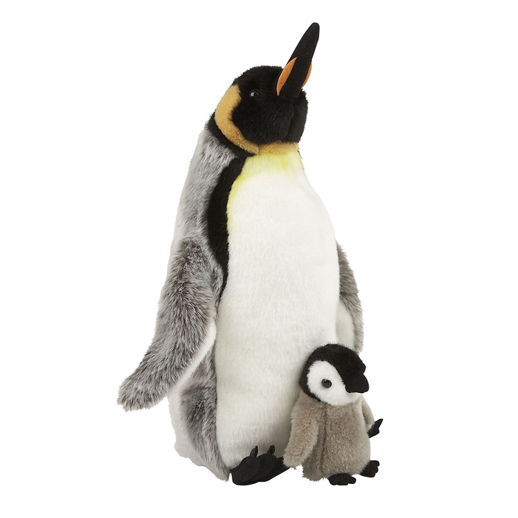 Emperor penguin with chick soft toy
