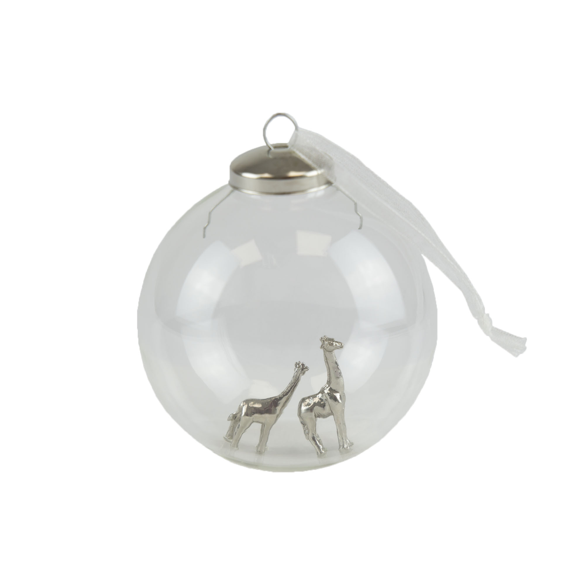 Mother and Baby Giraffe Glass bauble, 8cm
