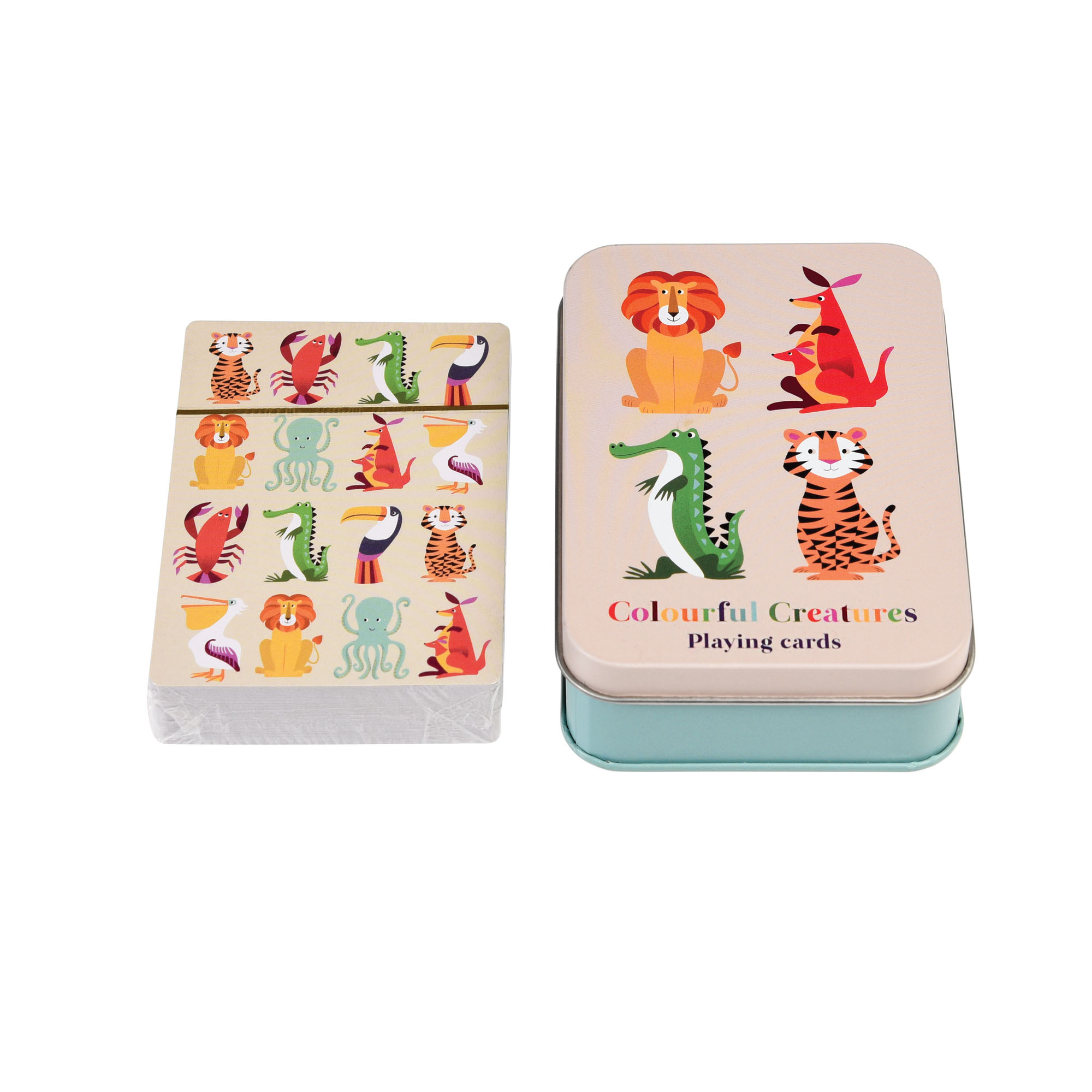 Colourful creatures playing cards