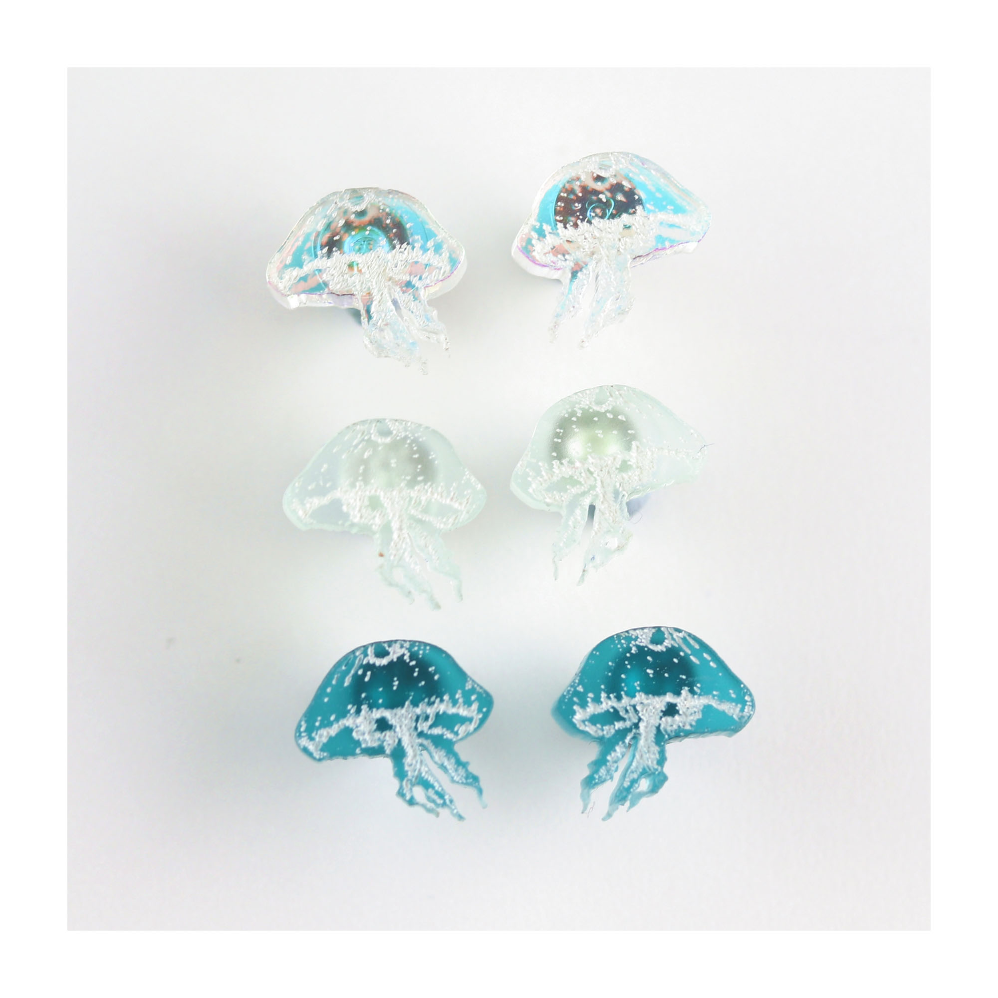 Mini blue Jellyfish earrings, 3 pack