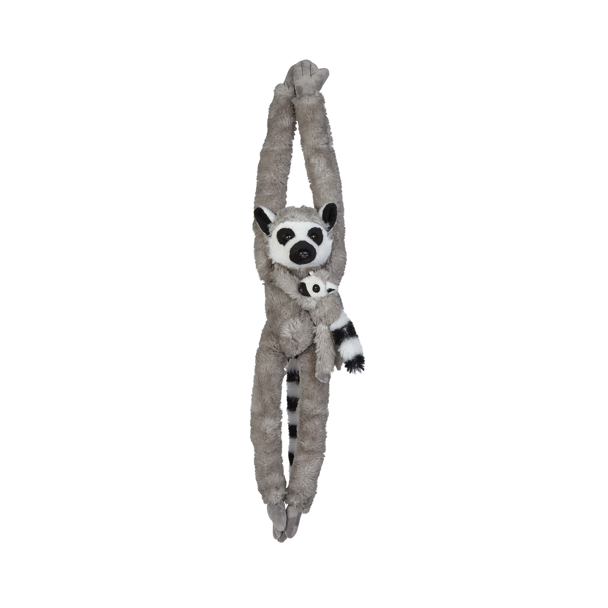 Hanging lemur and baby soft toy