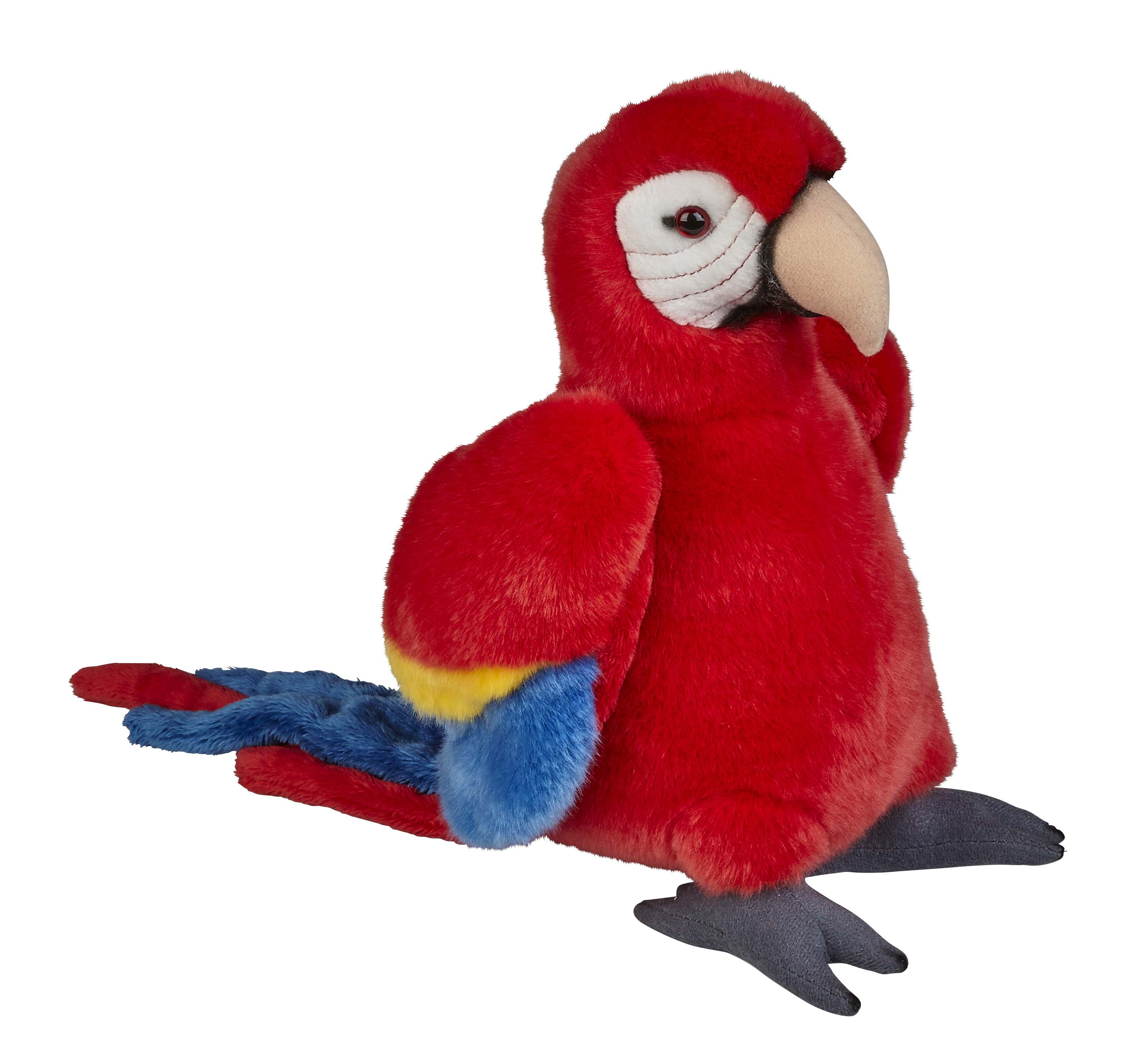Red macaw soft toy