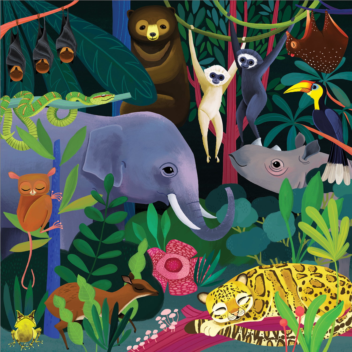 Glow in the Dark Jungle Jigsaw Puzzle, 500 pieces