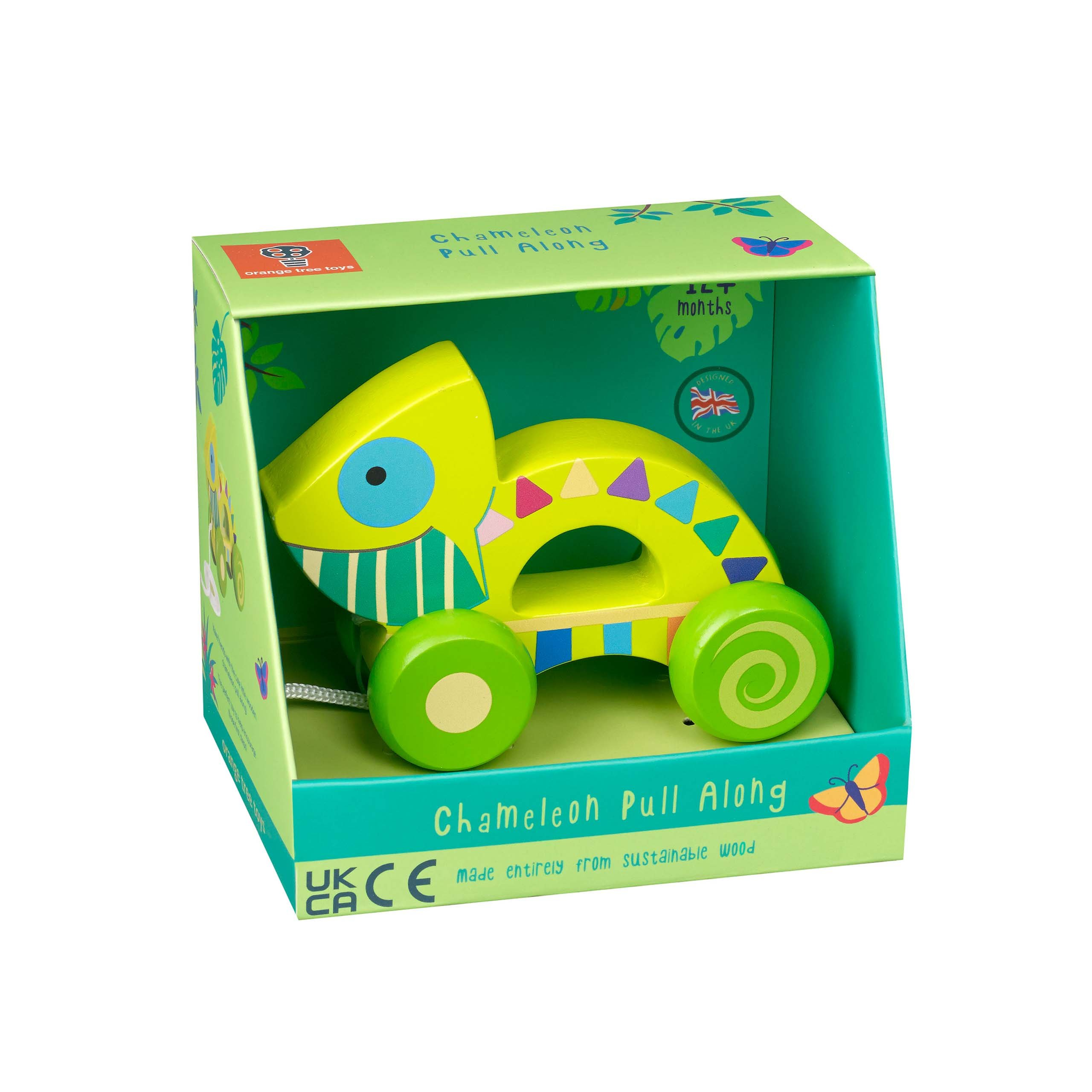 Chameleon Pull Along Toy boxed