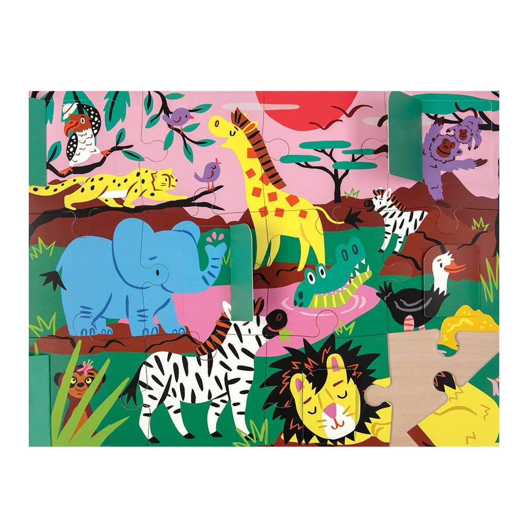 Safari Lift-the-Flap Jigsaw Puzzle, 12 Pcs