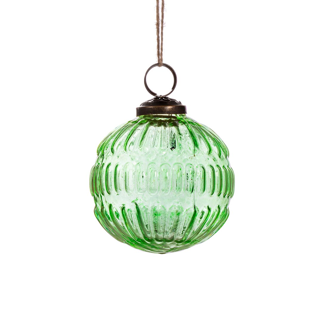 Recycled Glass Bauble, Groove Green