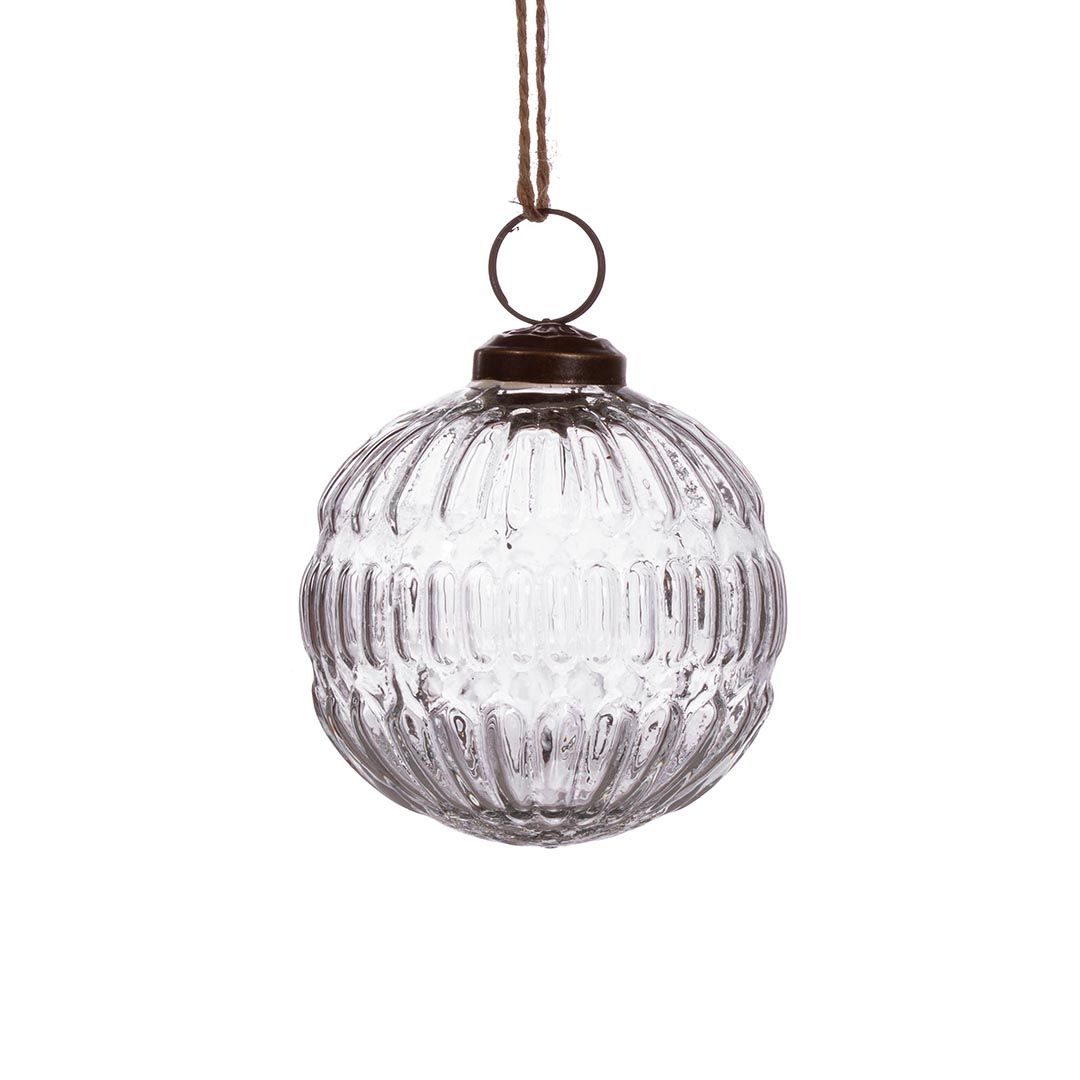 Recycled Glass Bauble, Groove Clear