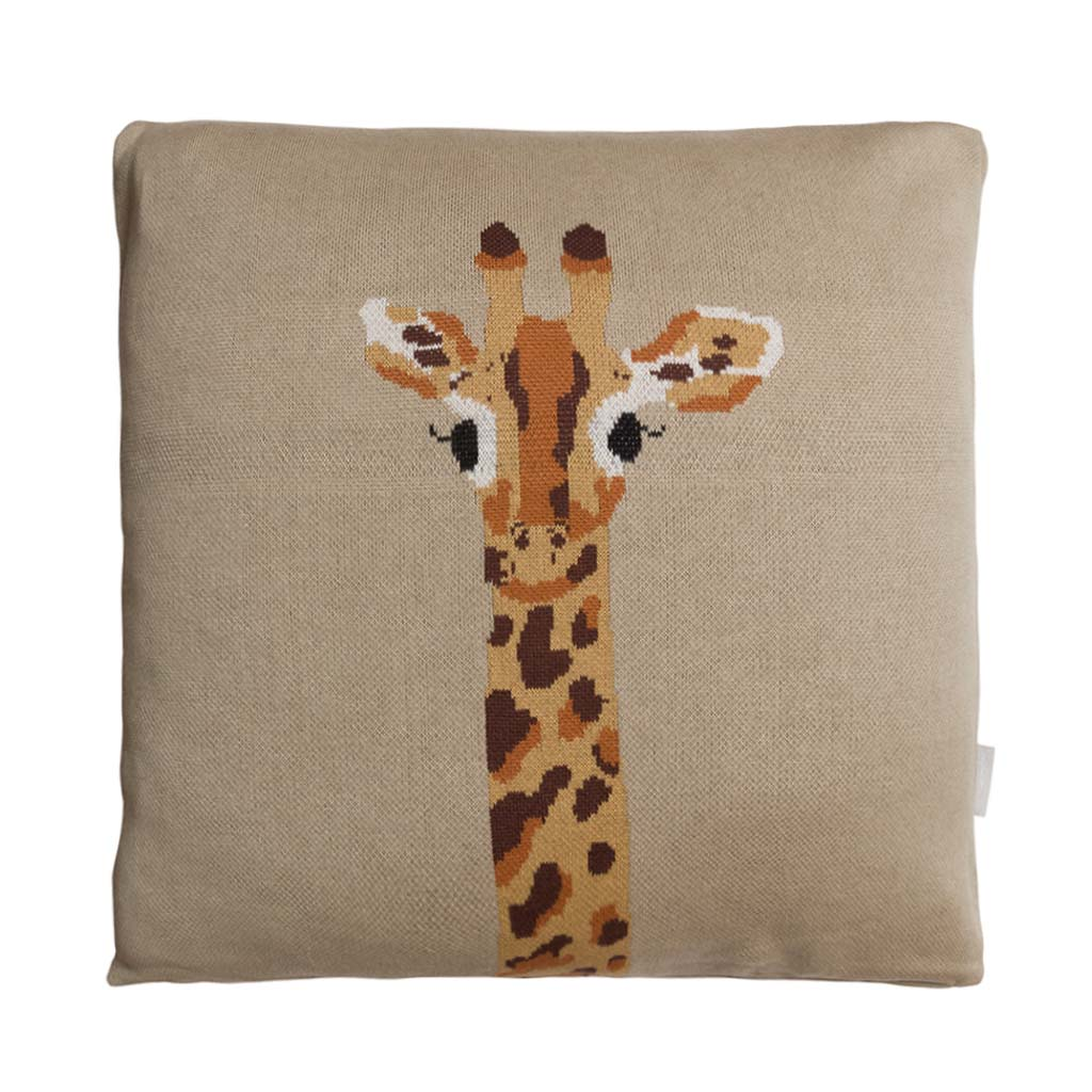 Sophie Allport Giraffe Knitted Cushion front