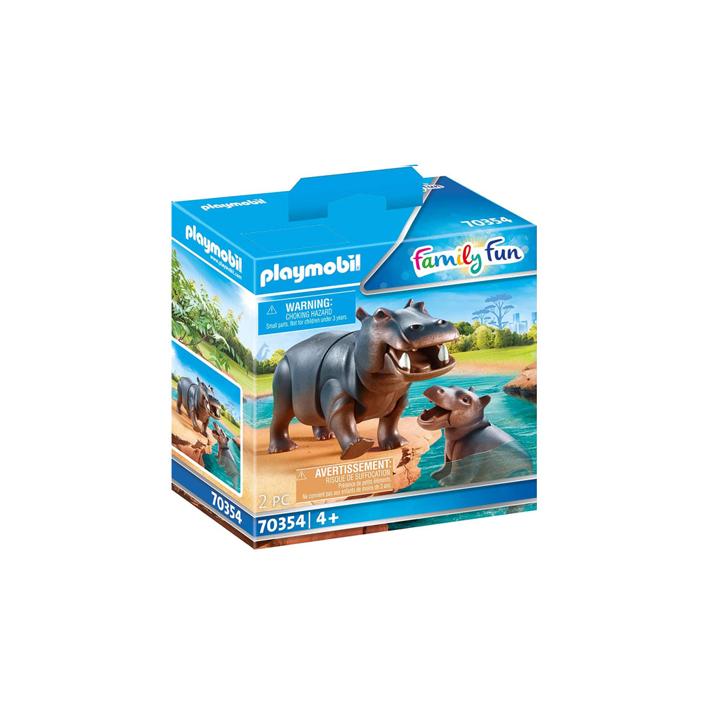 Playmobil Hippo With Calf Figures