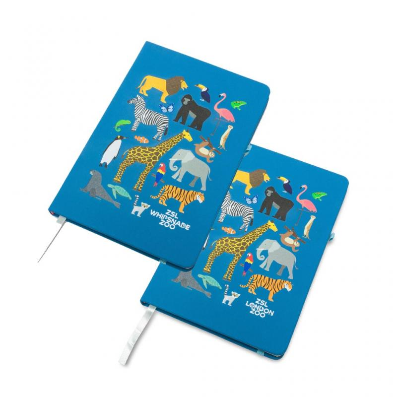 Zoo Animals Hardcover Notebook, A5 Blue