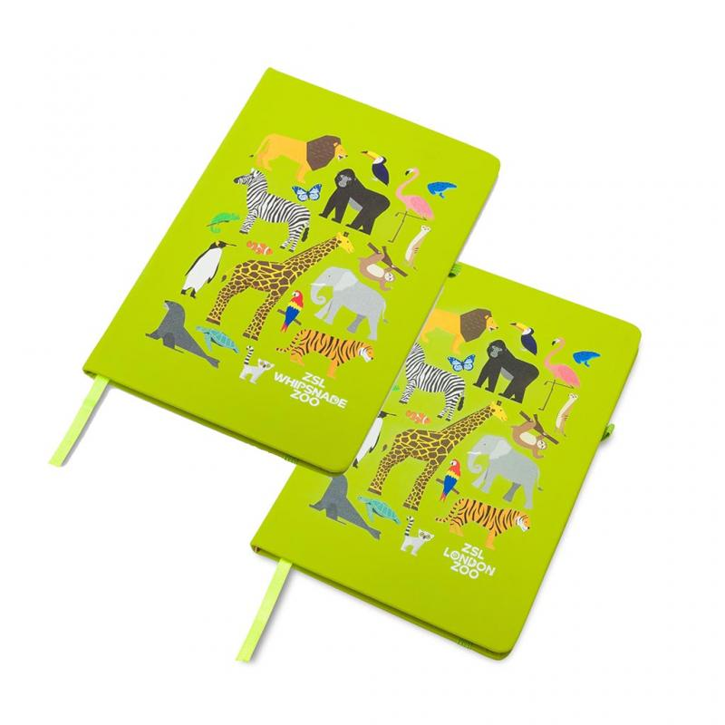 Zoo Animals Hardcover Notebook, A5 Green
