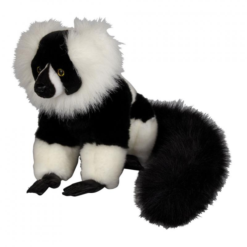 Black and White Ruffed Lemur soft toy, 23cm