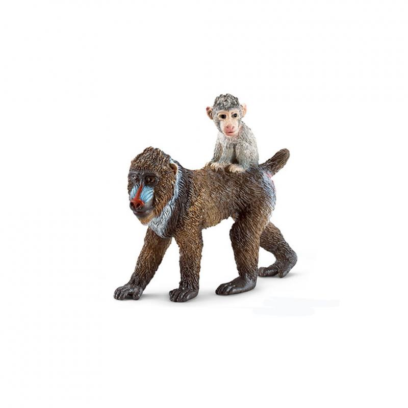 Schleich Mandrill mother and baby figure