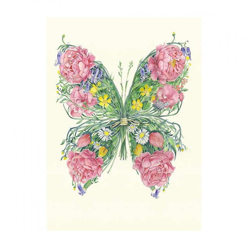 Butterfly with flowers Greetings card
