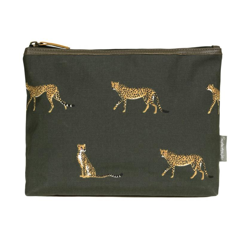 cheetah oil cloth washbag