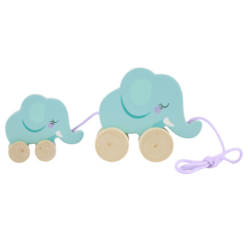 Elephant family pull along toy