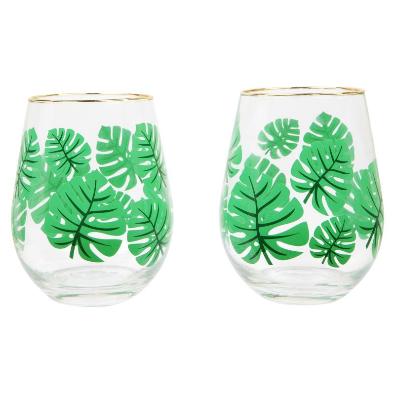 Tropical leaf cocktail glasses
