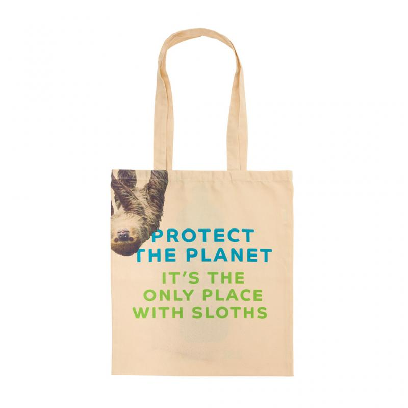 Recycled Plastic Sloth Tote Bag front