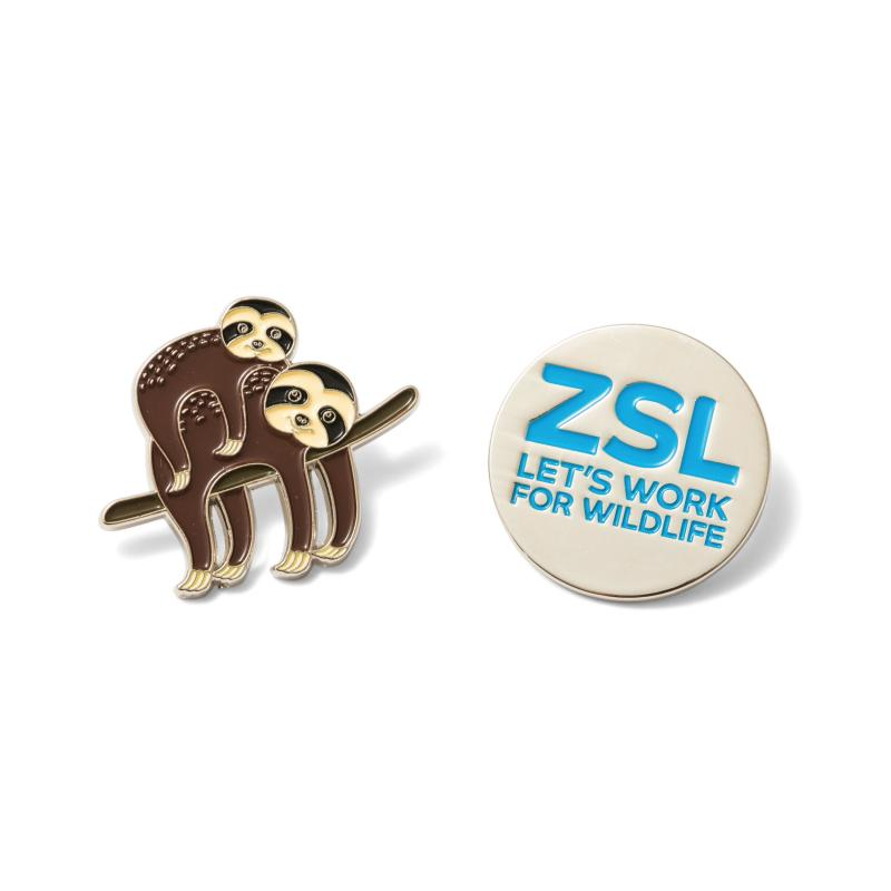 Sloth and ZSL pin badge set
