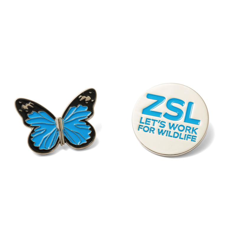 Butterfly and ZSL pin badge set