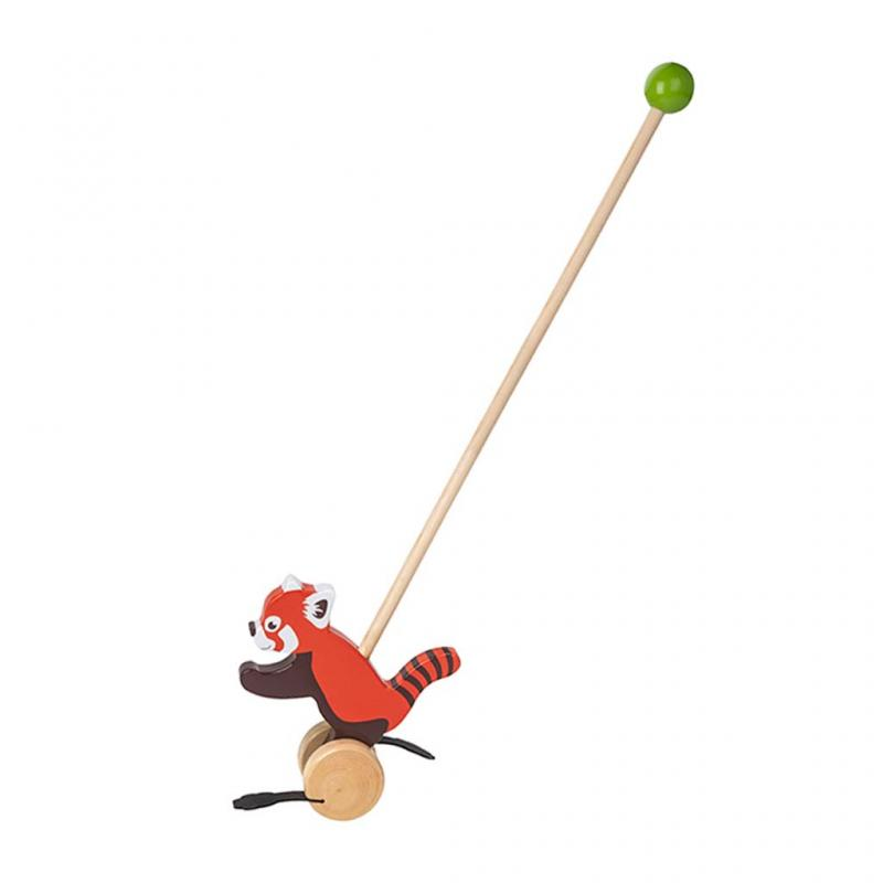 Red Panda Wooden Push Along