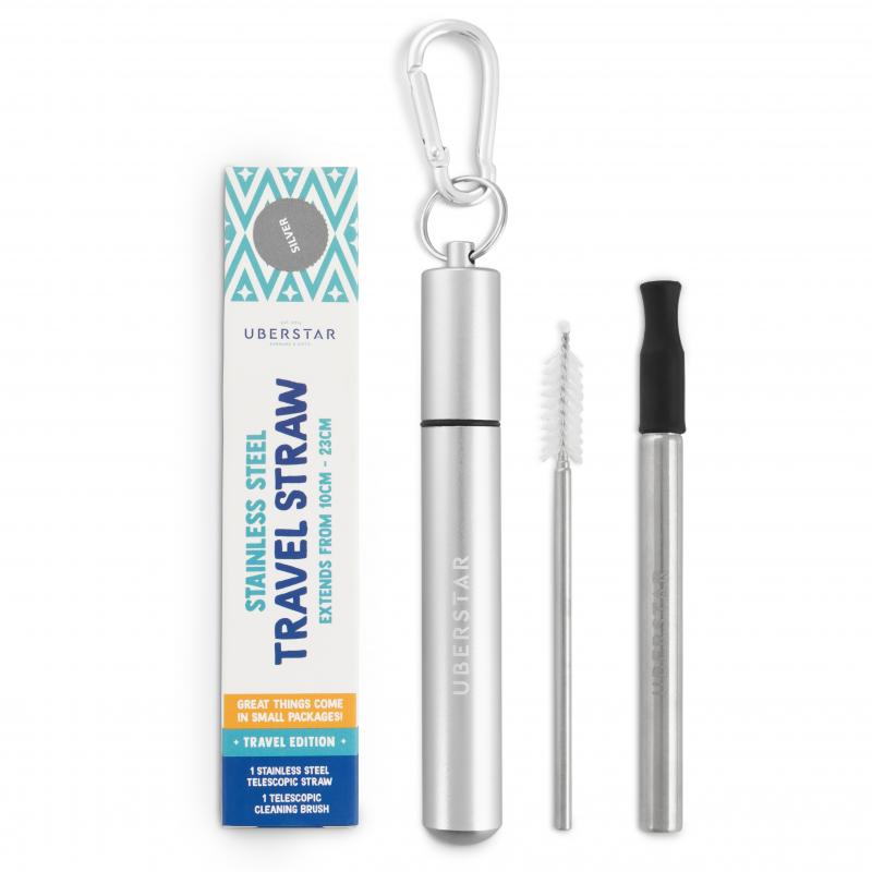 Silver travel straw