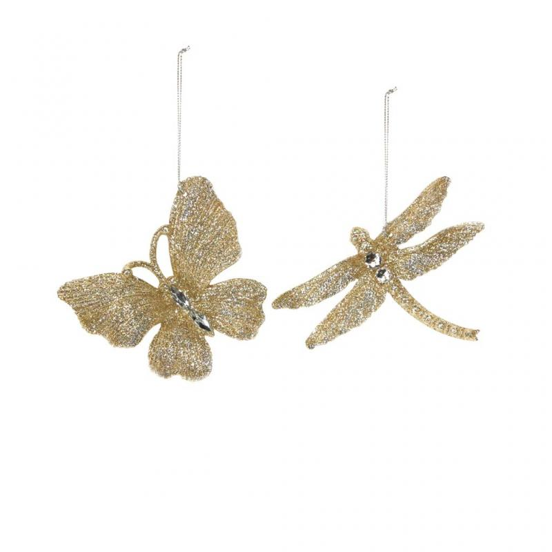 Gisela Graham Butterfly and Dragonfly Decoration Set, Gold
