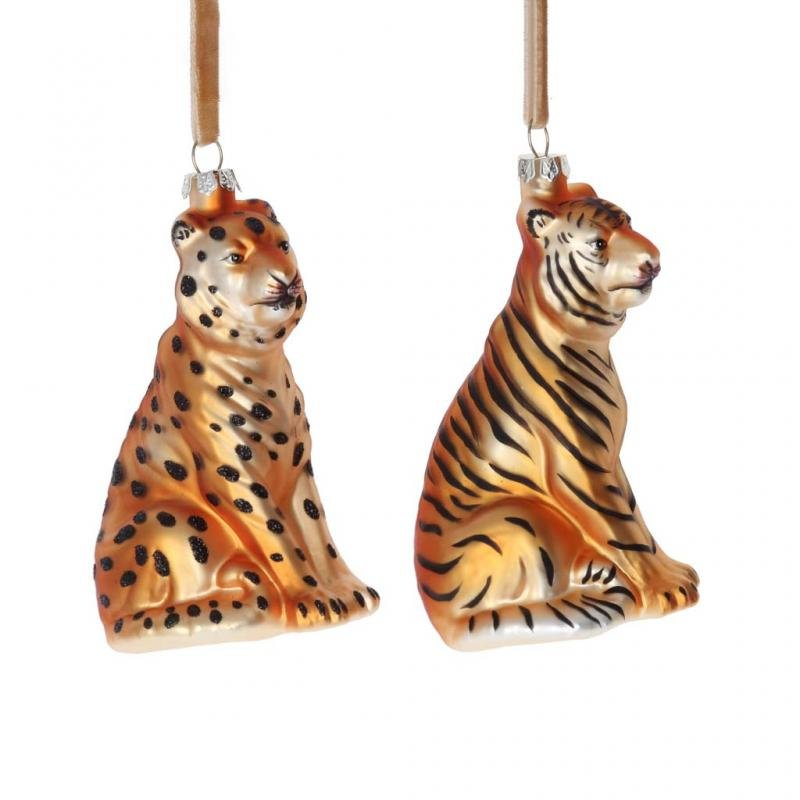 Gisela Graham Cheetah and Tiger Decoration Set
