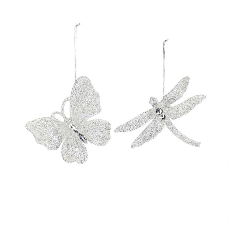 Gisela Graham Butterfly and Dragonfly Decoration Set, Silver