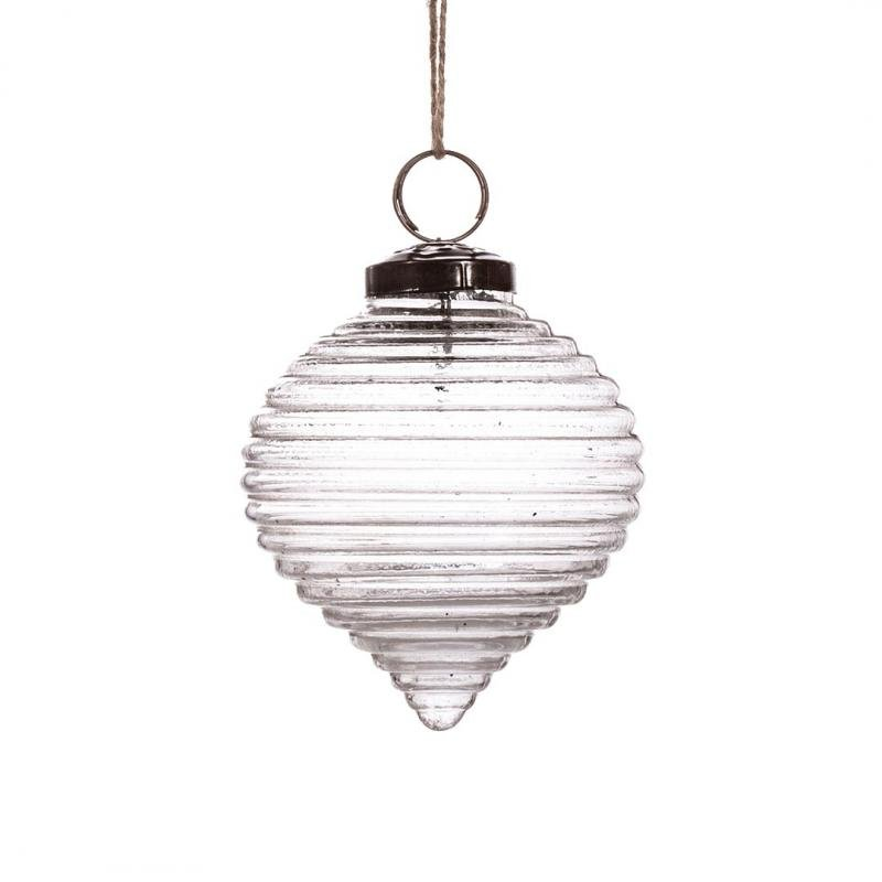 Recycled Glass Bauble, Ripple Clear