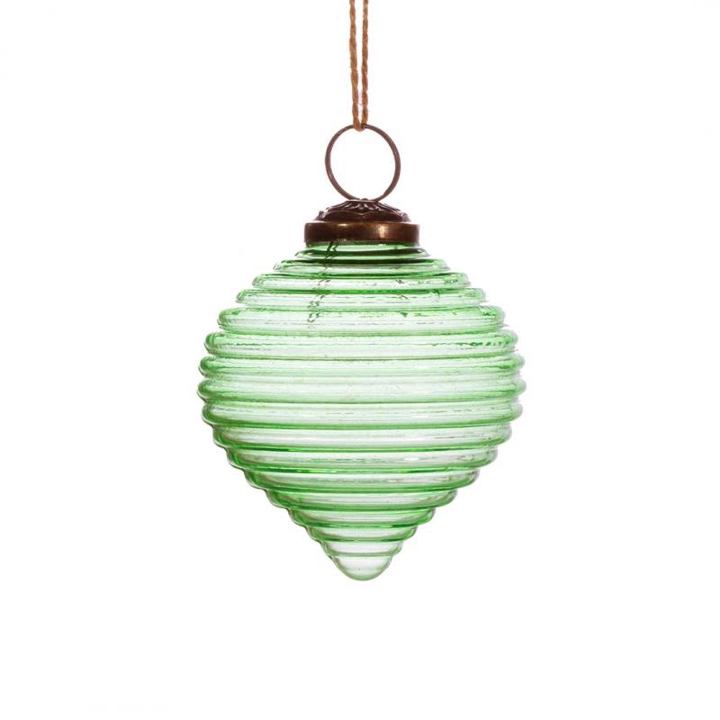 Recycled Glass Bauble, Ripple Green