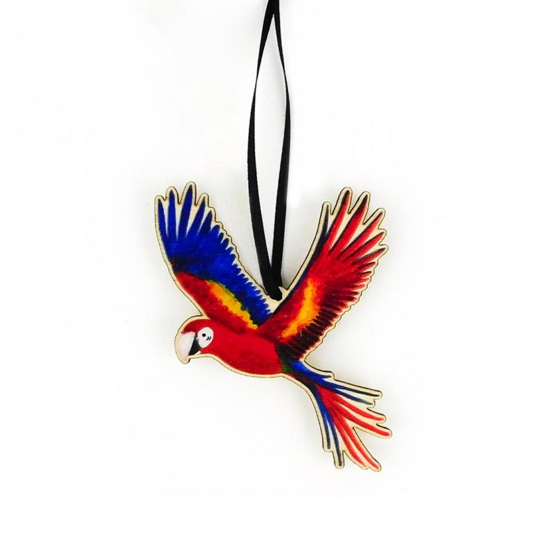 Red Macaw Wooden Decoration