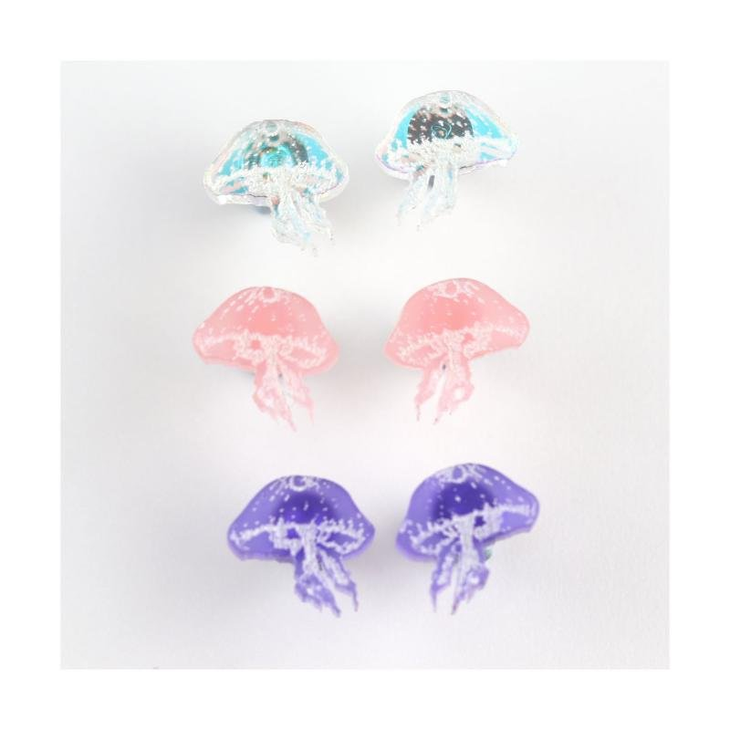 Kimchi & Coconut mini pink jellyfish earrings, 3 pack