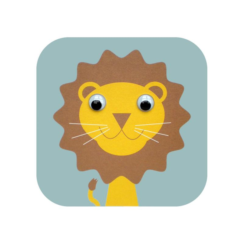 lion googly eyed greetings card
