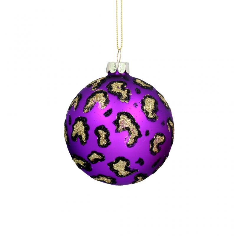 Gisela Graham Leopard Print Bauble, Purple