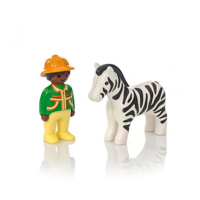 Playmobil 1.2.3 Ranger with Zebra Figures