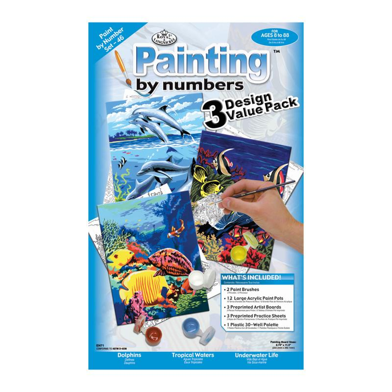 Sealife paint by numbers kit, set of 3