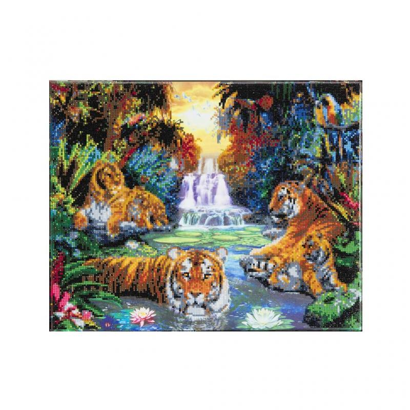 Tiger pool crystal art canvas, 40x50cm