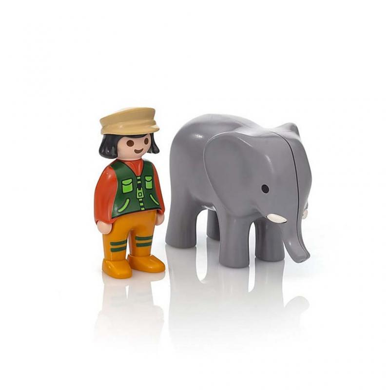 Playmobil 1.2.3 Zoo Keeper with Elephant Figures