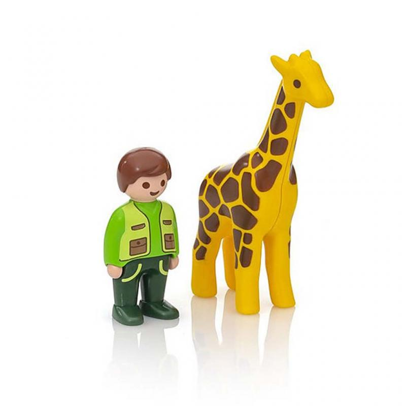 Playmobil 1.2.3 Zoo Keeper with Giraffe Figures