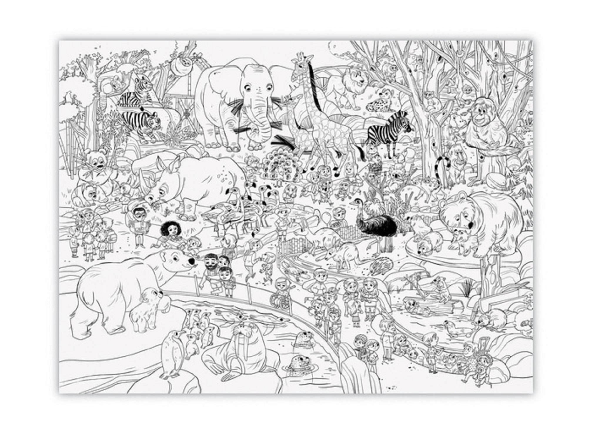 Giant Colouring Poster, Day at the Zoo