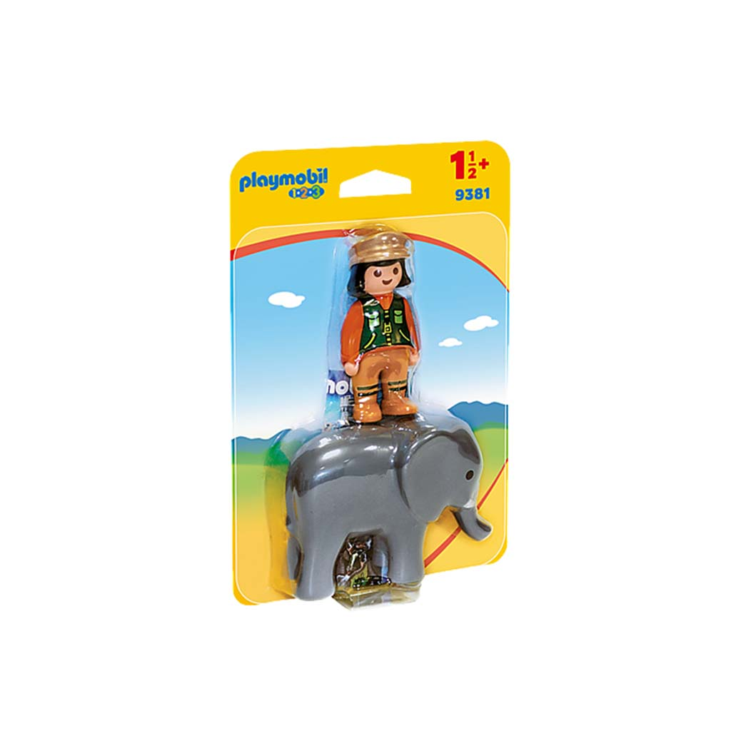 Playmobil 1.2.3 Zoo Keeper with Elephant Figures packet
