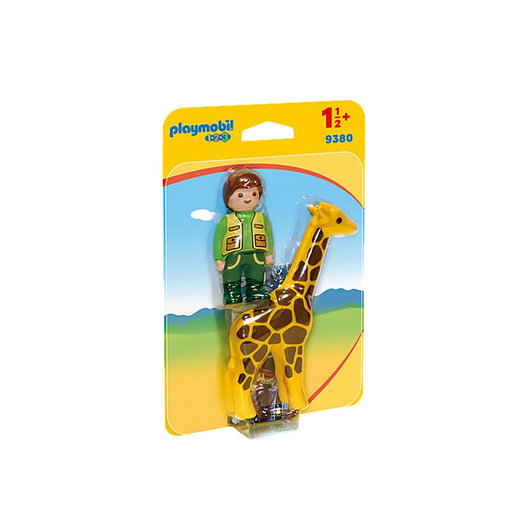 Playmobil 1.2.3 Zoo Keeper with Giraffe Figures packet